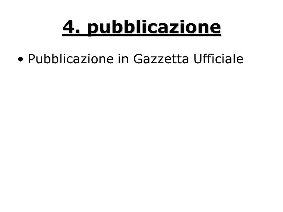 4. pubblicazione Pubblicazione in Gazzetta Ufficiale