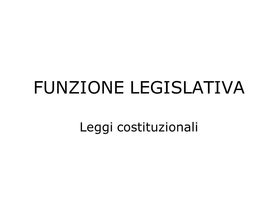 FUNZIONE LEGISLATIVA Leggi costituzionali