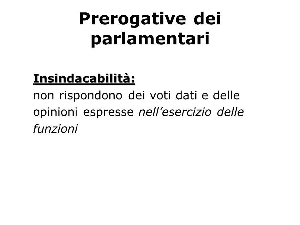 Prerogative dei parlamentari Insindacabilità: non rispondono dei voti dati e delle opinioni espresse nellesercizio delle funzioni