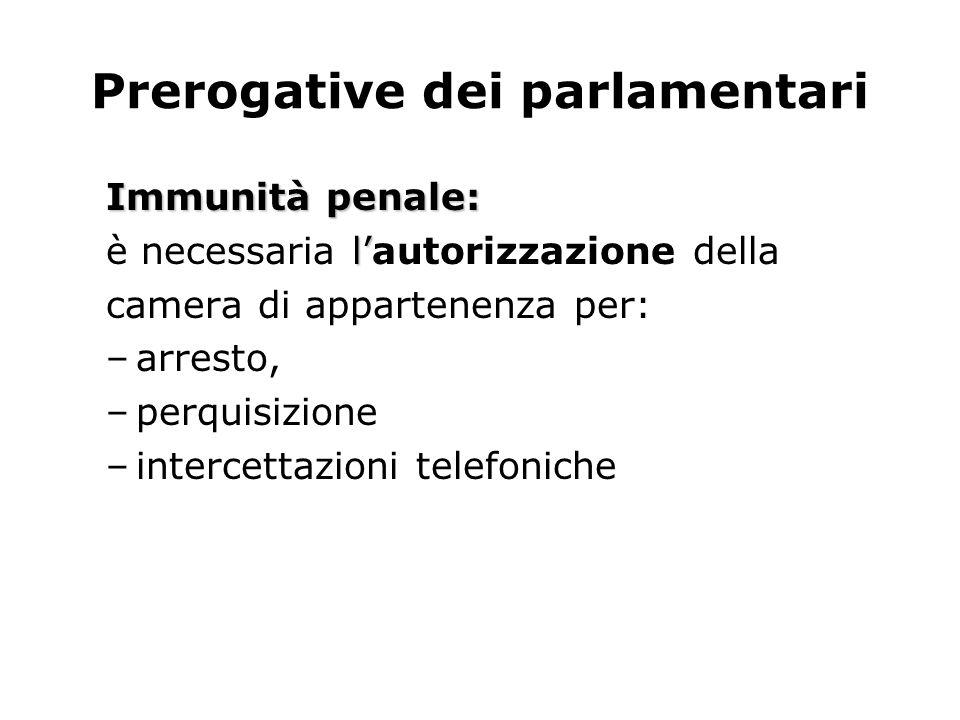 Prerogative dei parlamentari Immunità penale: l è necessaria lautorizzazione della camera di appartenenza per: –arresto, –perquisizione –intercettazio