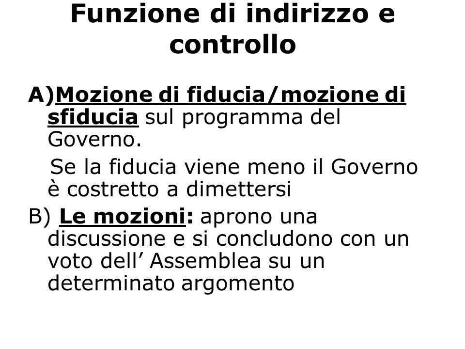 Funzione di indirizzo e controllo A)Mozione di fiducia/mozione di sfiducia sul programma del Governo. Se la fiducia viene meno il Governo è costretto
