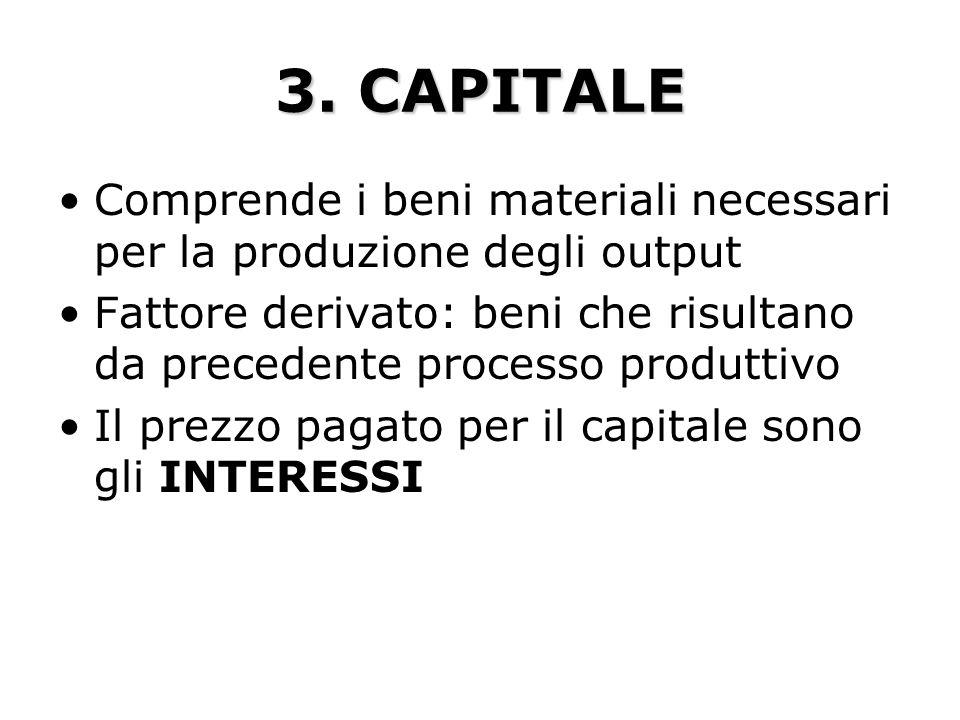 3. CAPITALE Comprende i beni materiali necessari per la produzione degli output Fattore derivato: beni che risultano da precedente processo produttivo