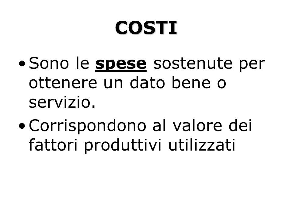 COSTI Sono le spese sostenute per ottenere un dato bene o servizio. Corrispondono al valore dei fattori produttivi utilizzati