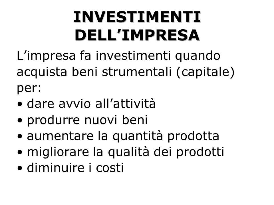 INVESTIMENTI DELLIMPRESA Limpresa fa investimenti quando acquista beni strumentali (capitale) per: dare avvio allattività produrre nuovi beni aumentar