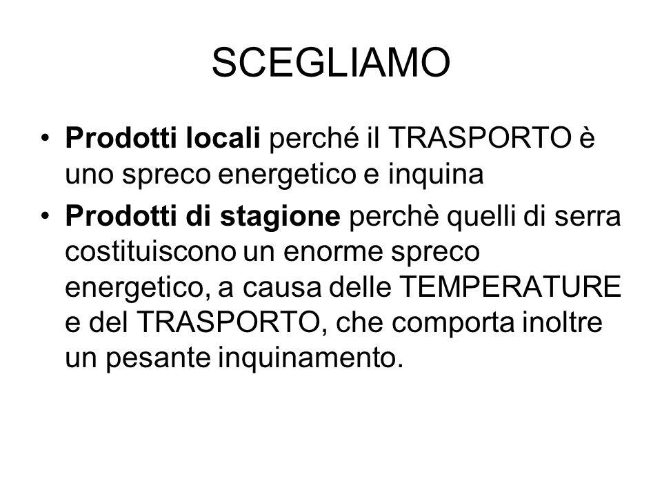 SCEGLIAMO Prodotti locali perché il TRASPORTO è uno spreco energetico e inquina Prodotti di stagione perchè quelli di serra costituiscono un enorme sp