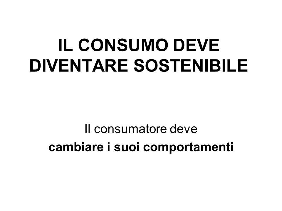 IL CONSUMO DEVE DIVENTARE SOSTENIBILE Il consumatore deve cambiare i suoi comportamenti