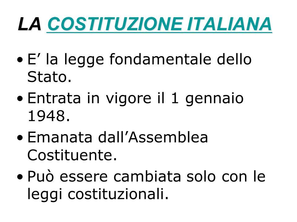 LA COSTITUZIONE ITALIANA COSTITUZIONE ITALIANACOSTITUZIONE ITALIANA E la legge fondamentale dello Stato. Entrata in vigore il 1 gennaio 1948. Emanata