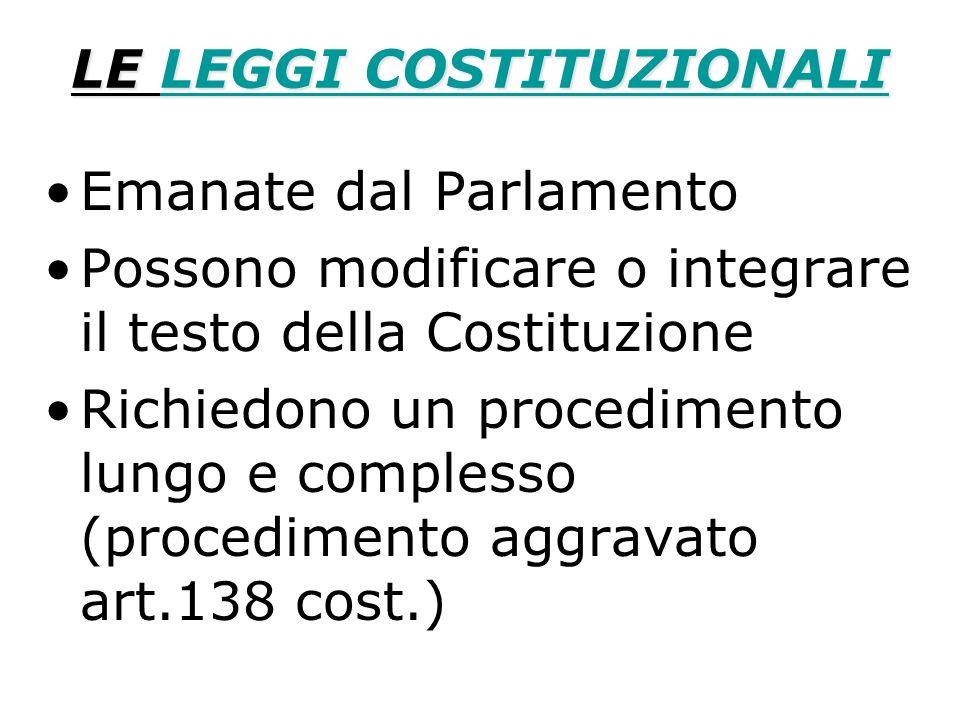 LE LEGGI COSTITUZIONALI LEGGI COSTITUZIONALILEGGI COSTITUZIONALI Emanate dal Parlamento Possono modificare o integrare il testo della Costituzione Ric