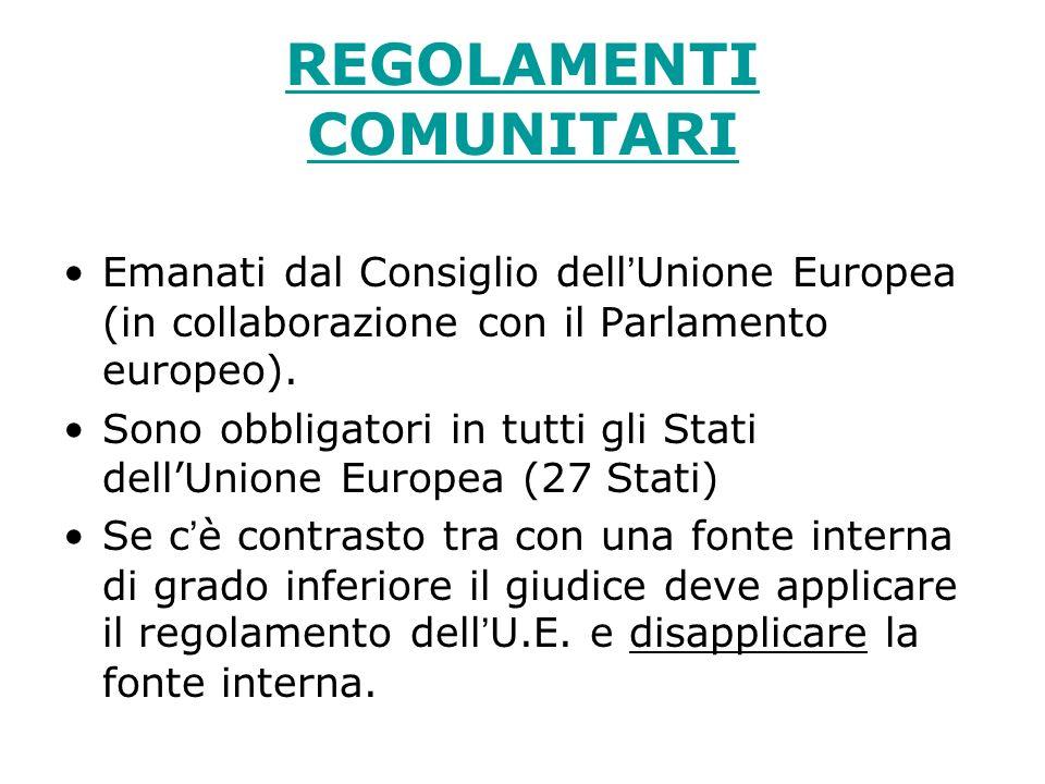 REGOLAMENTI COMUNITARI Emanati dal Consiglio dellUnione Europea (in collaborazione con il Parlamento europeo). Sono obbligatori in tutti gli Stati del