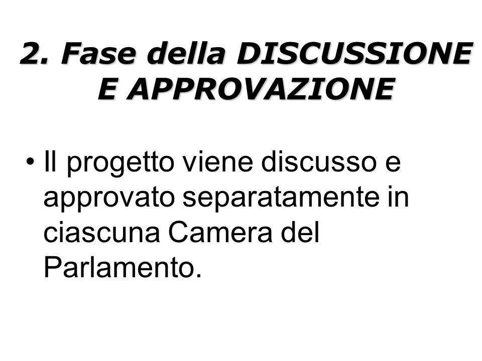 2. Fase della DISCUSSIONE E APPROVAZIONE Il progetto viene discusso e approvato separatamente in ciascuna Camera del Parlamento.