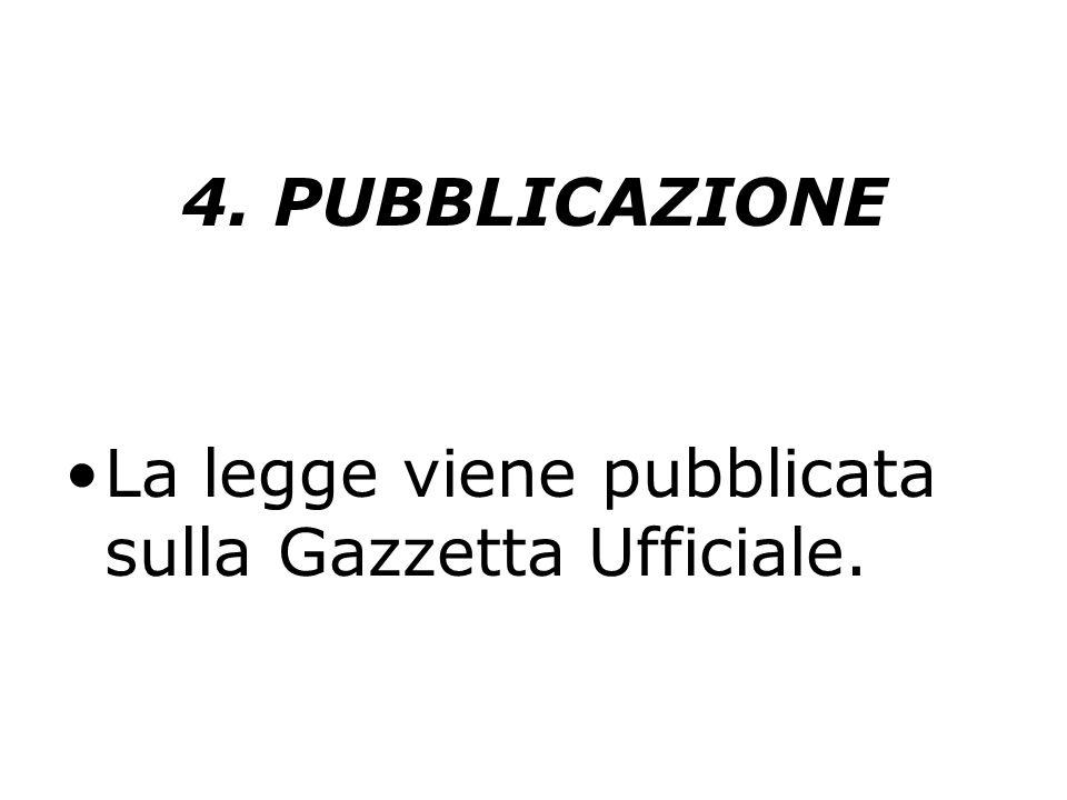 4. PUBBLICAZIONE La legge viene pubblicata sulla Gazzetta Ufficiale.
