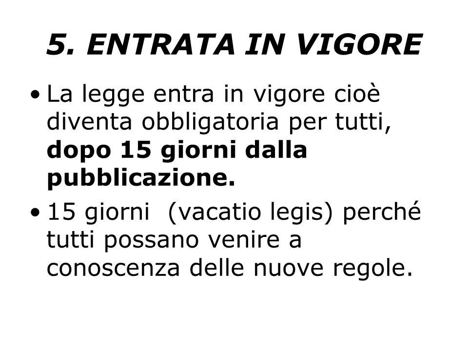 5. ENTRATA IN VIGORE La legge entra in vigore cioè diventa obbligatoria per tutti, dopo 15 giorni dalla pubblicazione. 15 giorni (vacatio legis) perch