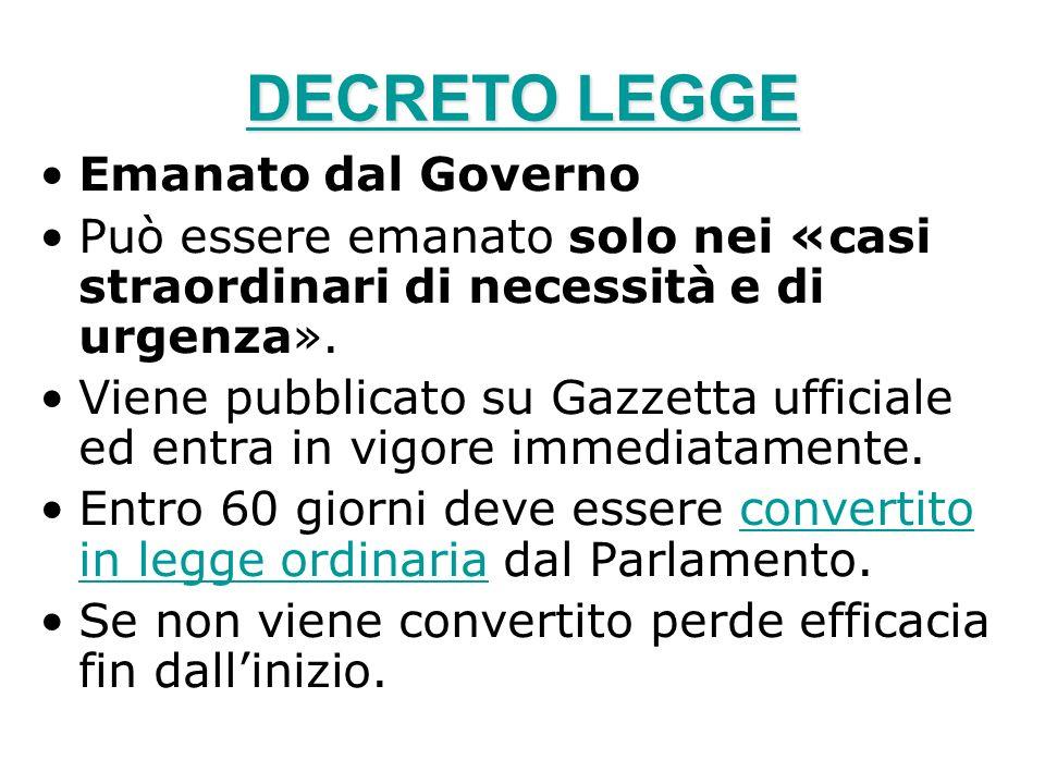DECRETO LEGGE DECRETO LEGGE Emanato dal Governo Può essere emanato solo nei «casi straordinari di necessità e di urgenza». Viene pubblicato su Gazzett