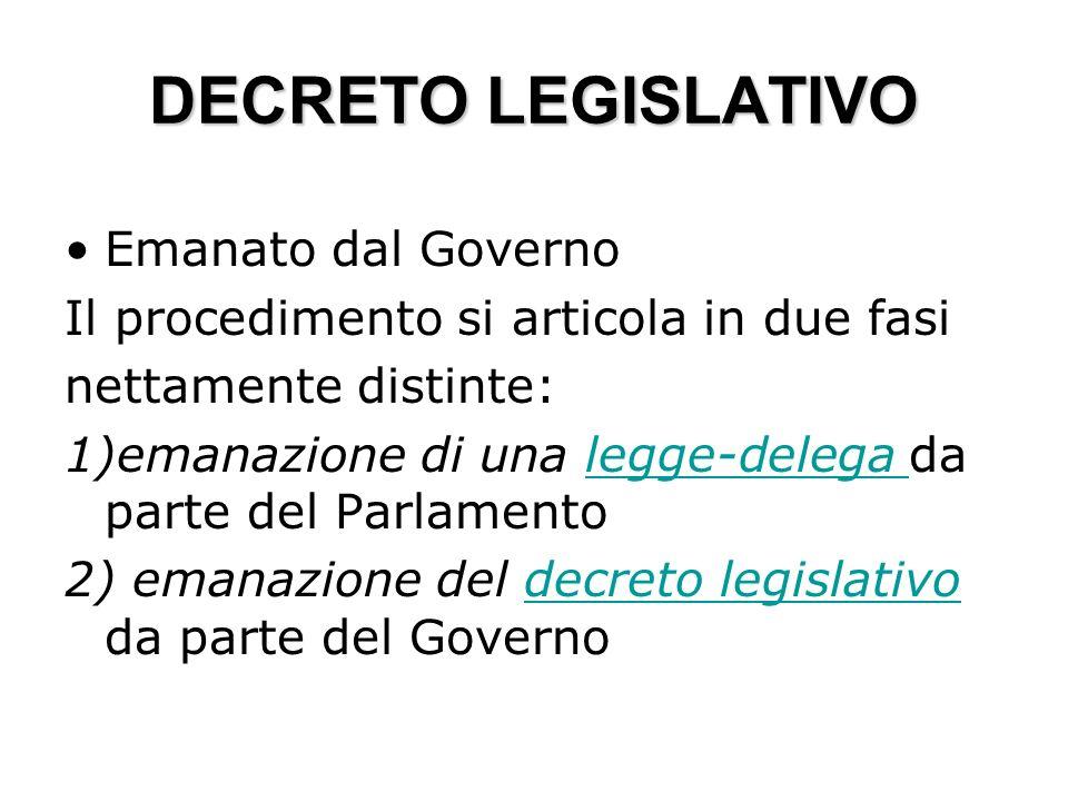 DECRETO LEGISLATIVO Emanato dal Governo Il procedimento si articola in due fasi nettamente distinte: 1)emanazione di una legge-delega da parte del Par
