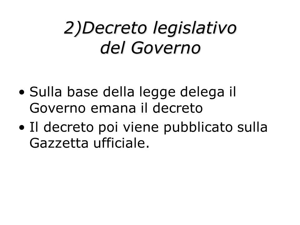 2)Decreto legislativo del Governo Sulla base della legge delega il Governo emana il decreto Il decreto poi viene pubblicato sulla Gazzetta ufficiale.