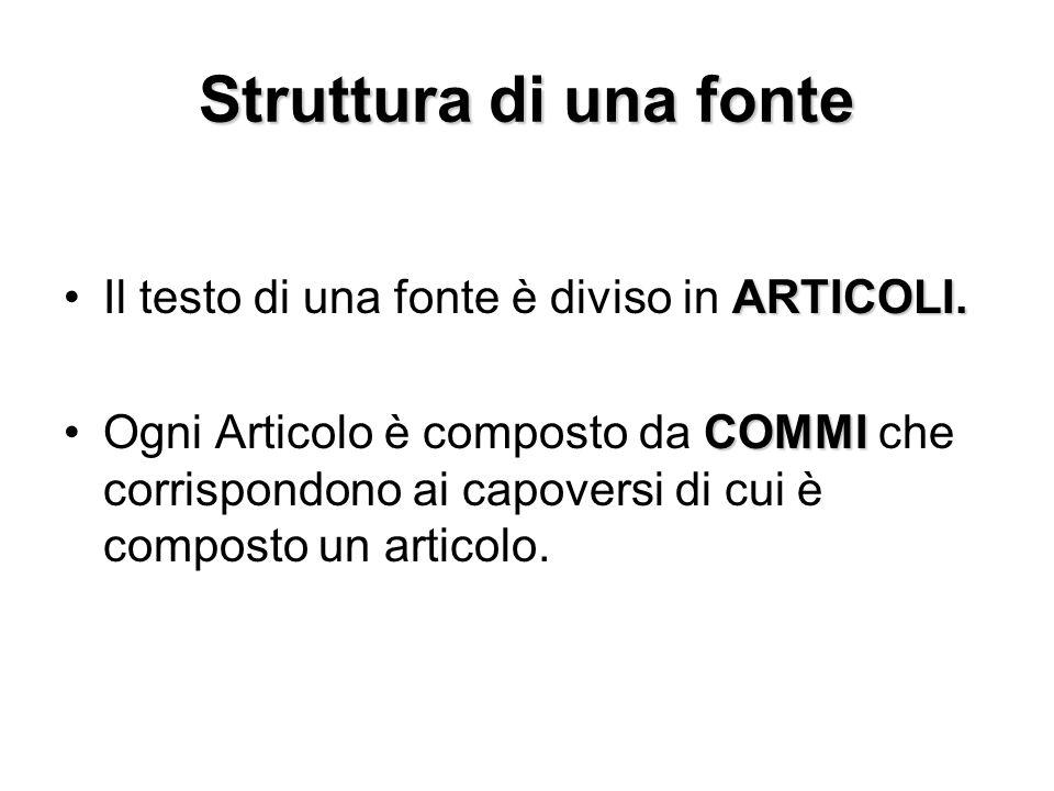 Struttura di una fonte ARTICOLI.Il testo di una fonte è diviso in ARTICOLI. COMMIOgni Articolo è composto da COMMI che corrispondono ai capoversi di c