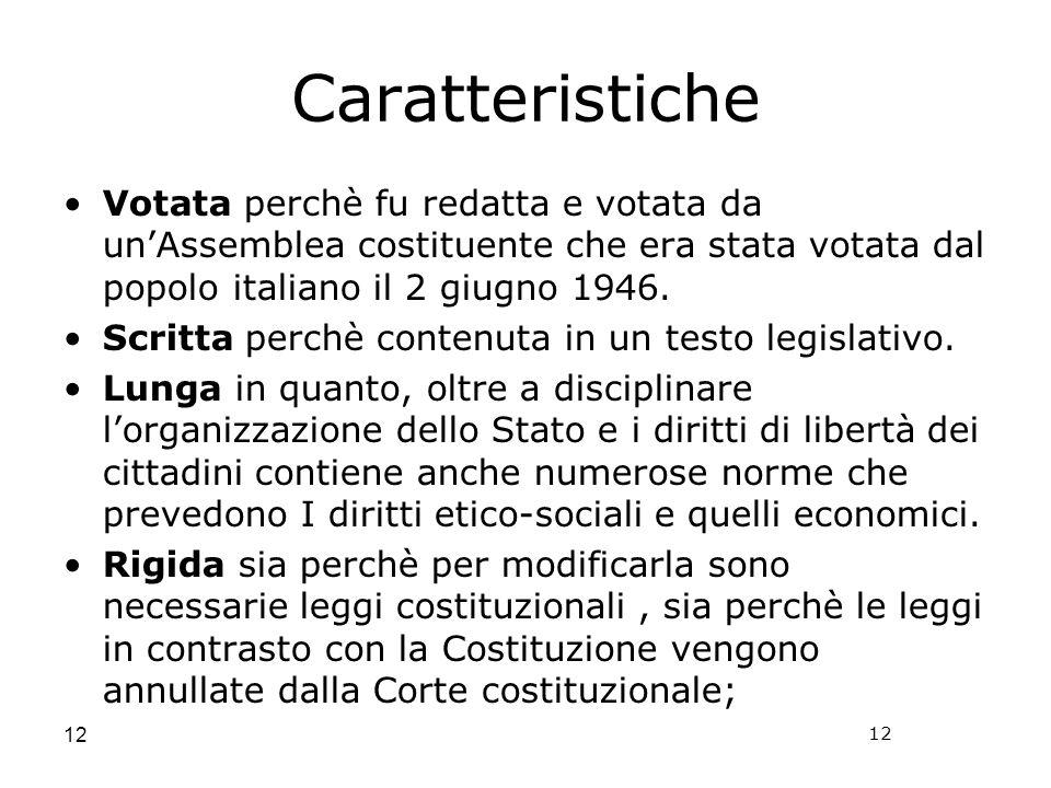 12 Caratteristiche Votata perchè fu redatta e votata da unAssemblea costituente che era stata votata dal popolo italiano il 2 giugno 1946. Scritta per
