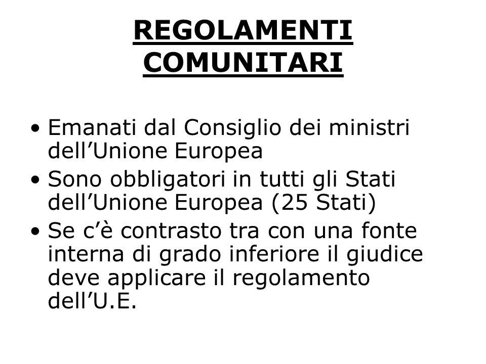 REGOLAMENTI COMUNITARI Emanati dal Consiglio dei ministri dellUnione Europea Sono obbligatori in tutti gli Stati dellUnione Europea (25 Stati) Se cè c