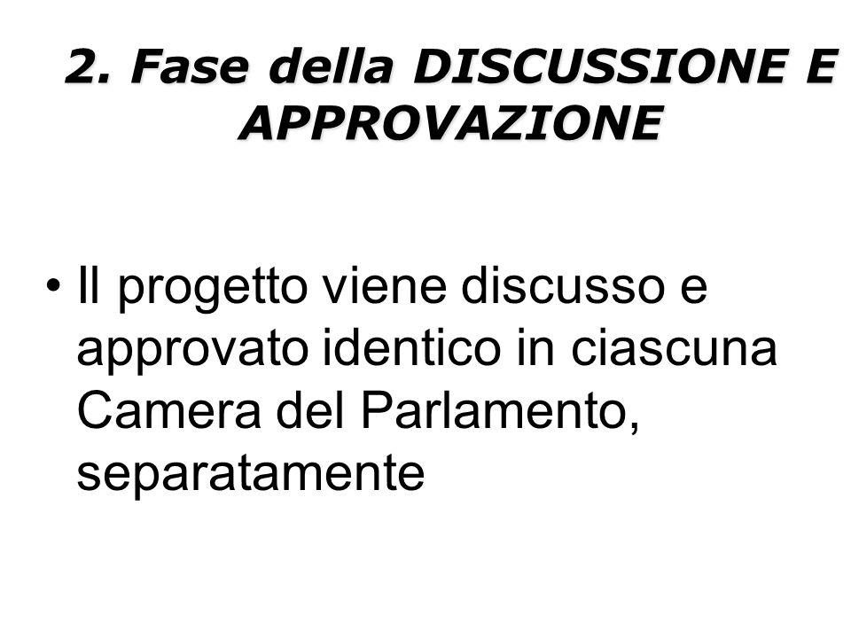 2. Fase della DISCUSSIONE E APPROVAZIONE Il progetto viene discusso e approvato identico in ciascuna Camera del Parlamento, separatamente