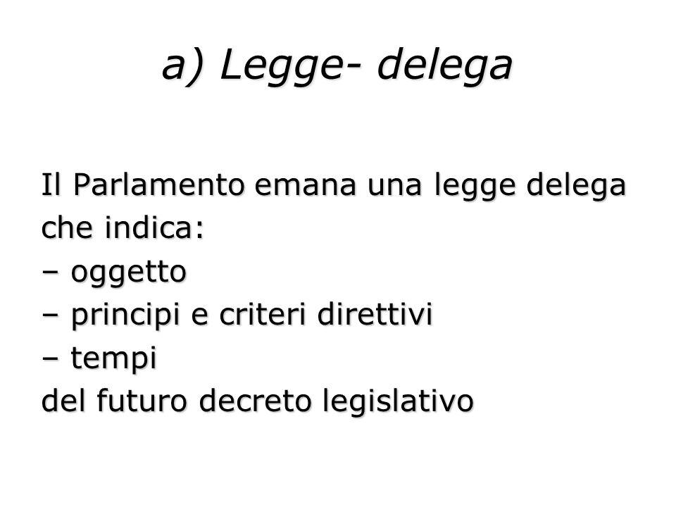 a) Legge- delega Il Parlamento emana una legge delega che indica: – oggetto – principi e criteri direttivi – tempi del futuro decreto legislativo