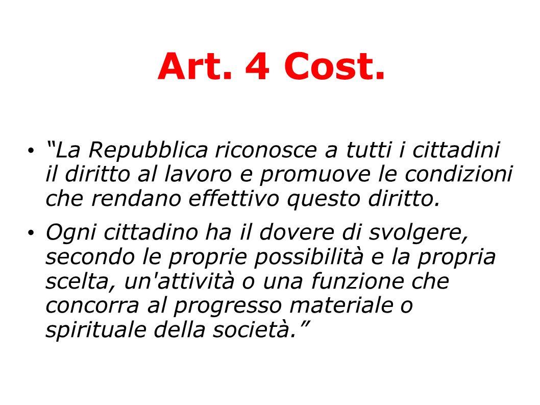 Art. 4 Cost. La Repubblica riconosce a tutti i cittadini il diritto al lavoro e promuove le condizioni che rendano effettivo questo diritto. Ogni citt