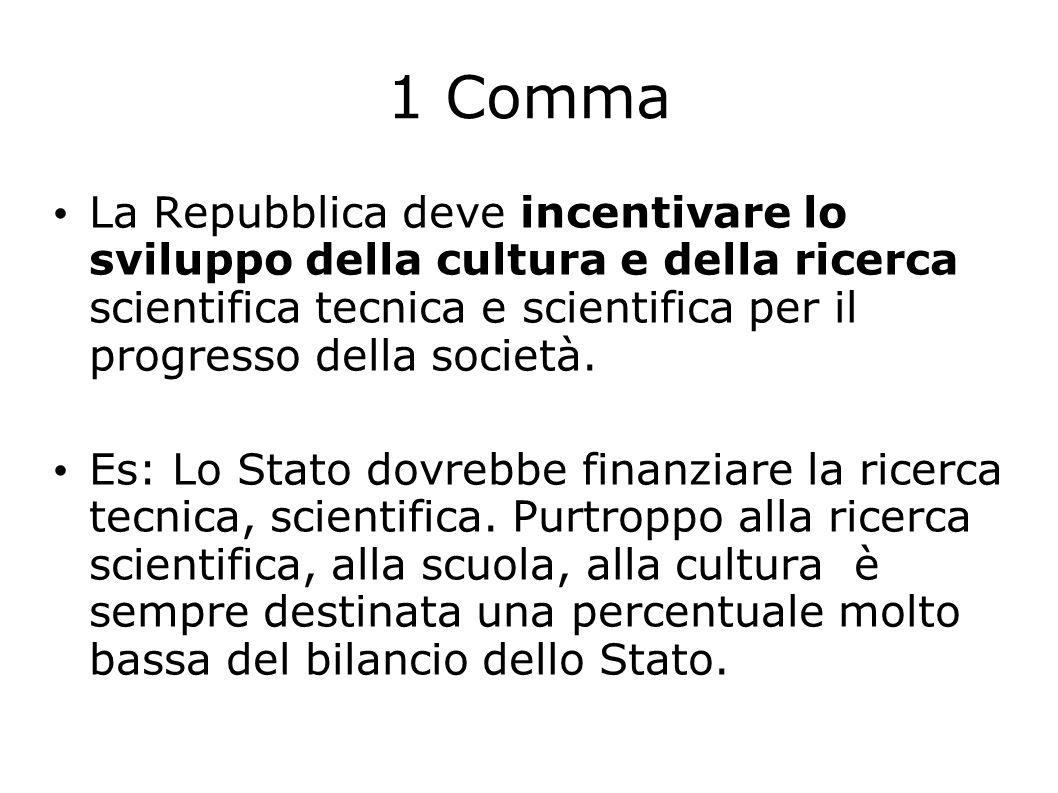 1 Comma La Repubblica deve incentivare lo sviluppo della cultura e della ricerca scientifica tecnica e scientifica per il progresso della società. Es: