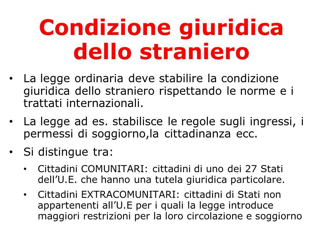 Condizione giuridica dello straniero La legge ordinaria deve stabilire la condizione giuridica dello straniero rispettando le norme e i trattati inter