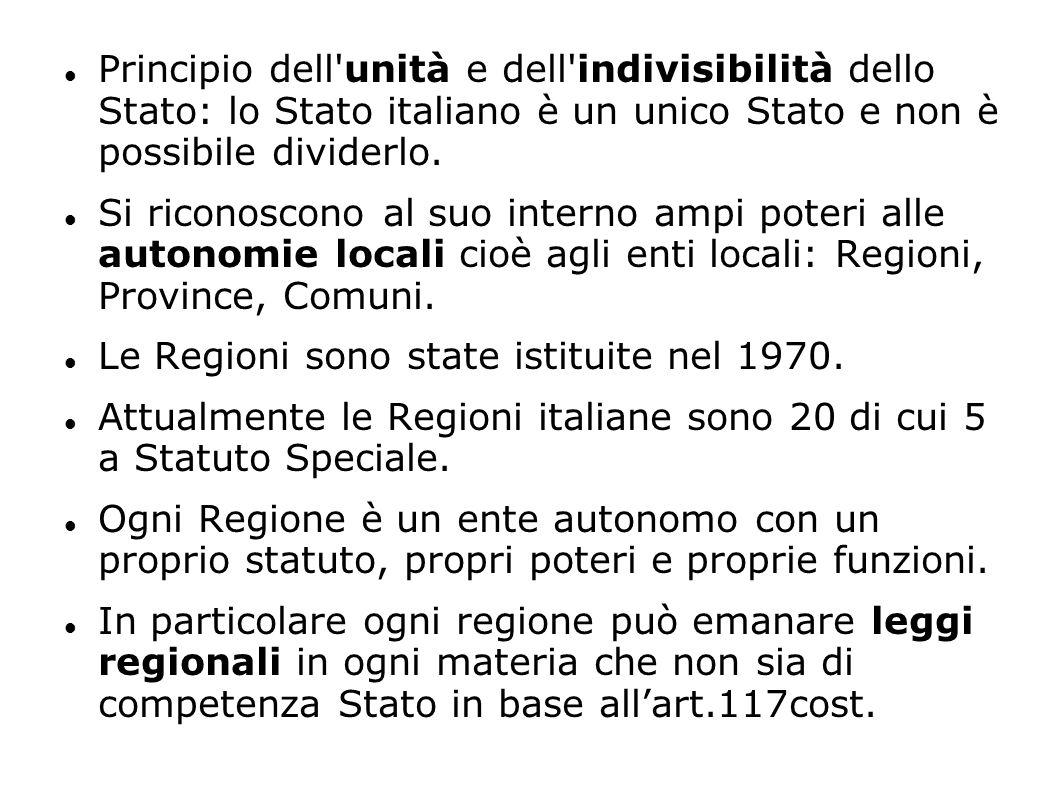 Principio dell'unità e dell'indivisibilità dello Stato: lo Stato italiano è un unico Stato e non è possibile dividerlo. Si riconoscono al suo interno