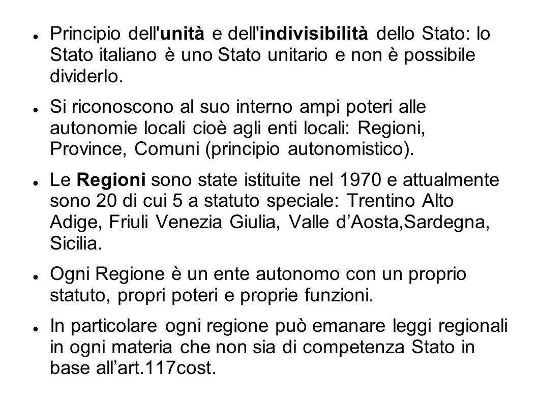 Principio dell'unità e dell'indivisibilità dello Stato: lo Stato italiano è uno Stato unitario e non è possibile dividerlo. Si riconoscono al suo inte