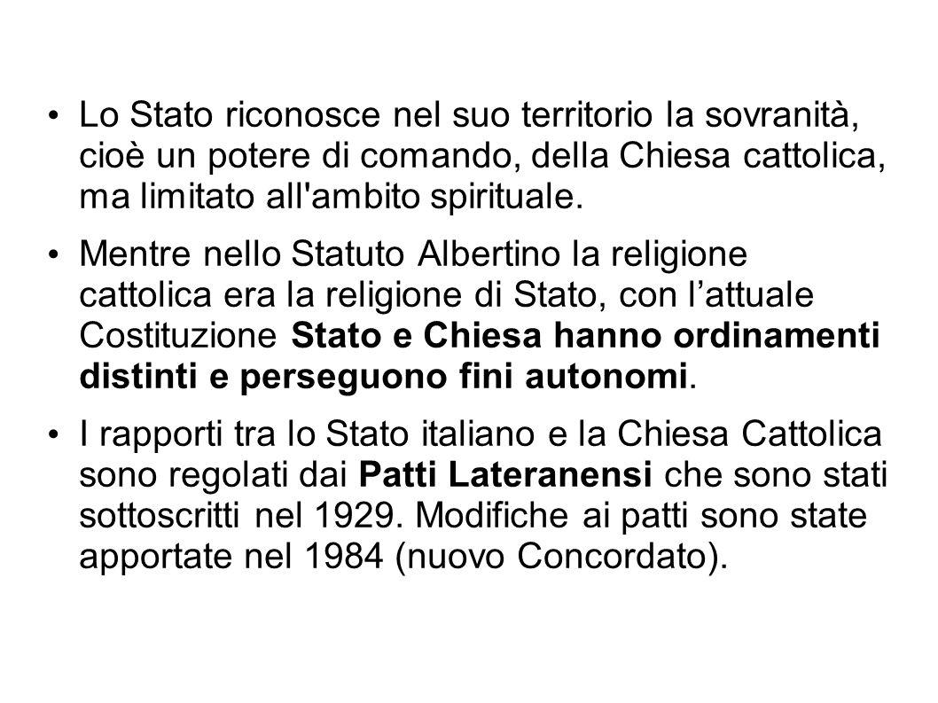 Lo Stato riconosce nel suo territorio la sovranità, cioè un potere di comando, della Chiesa cattolica, ma limitato all'ambito spirituale. Mentre nello