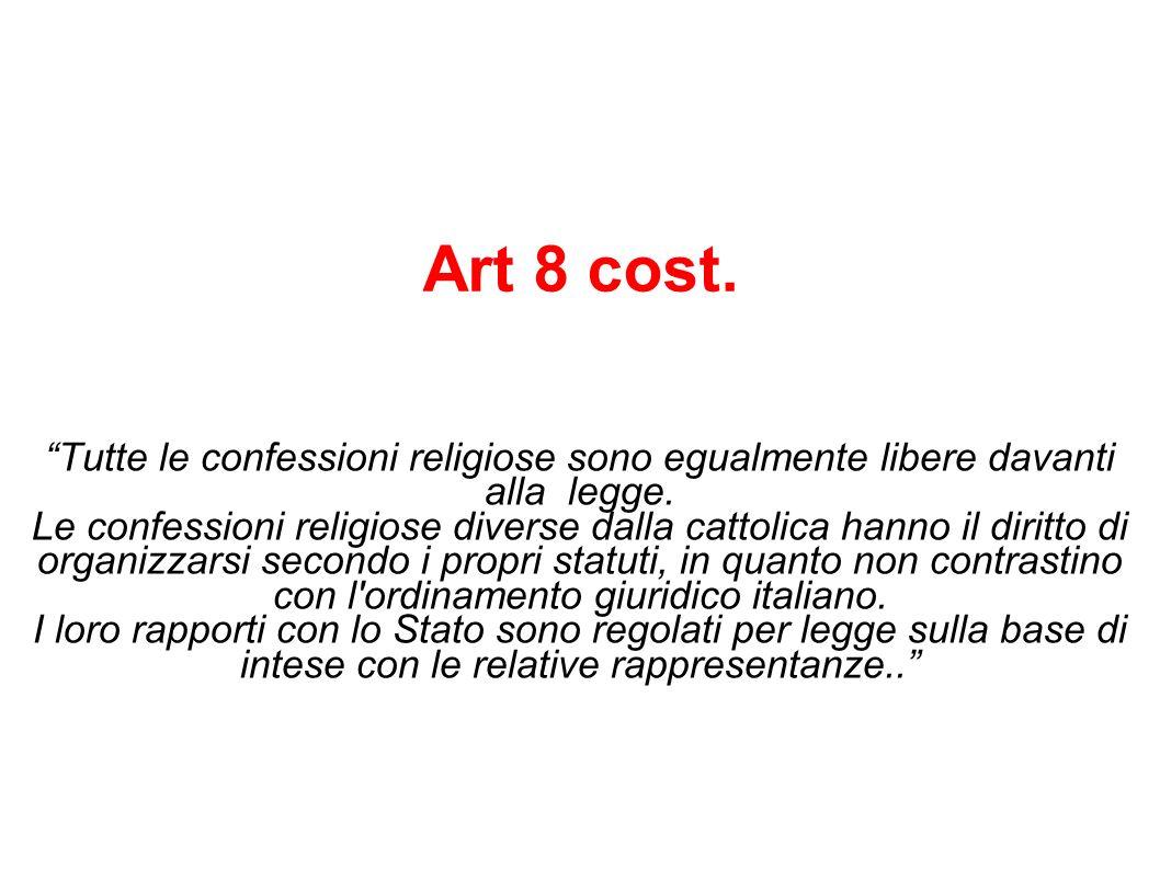 Larticolo afferma la libertà delle varie confessioni religiose, cioè delle diverse organizzazioni di fedeli.