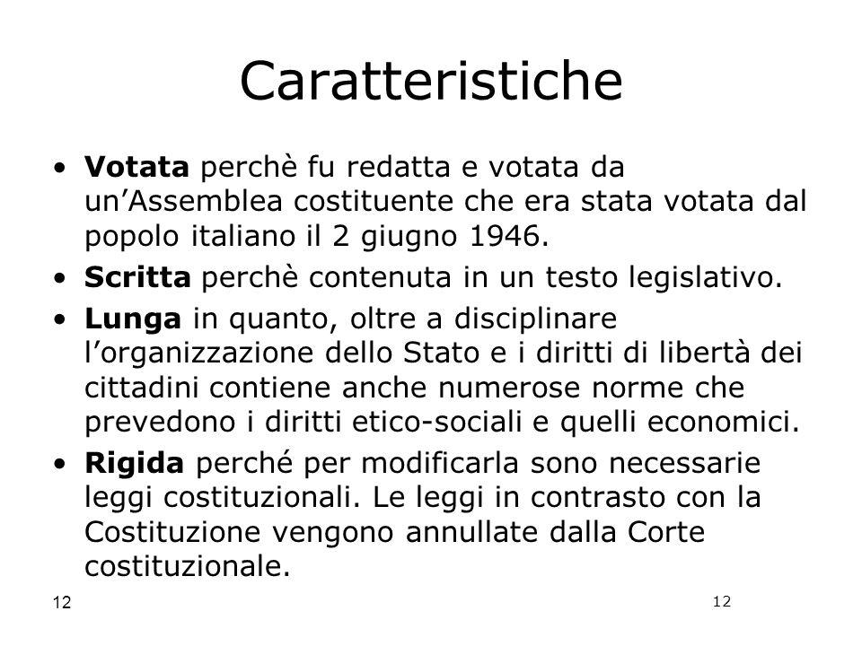12 Caratteristiche Votata perchè fu redatta e votata da unAssemblea costituente che era stata votata dal popolo italiano il 2 giugno 1946.