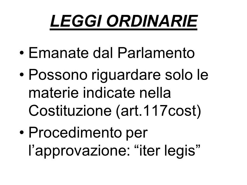LEGGI ORDINARIE Emanate dal Parlamento Possono riguardare solo le materie indicate nella Costituzione (art.117cost) Procedimento per lapprovazione: iter legis