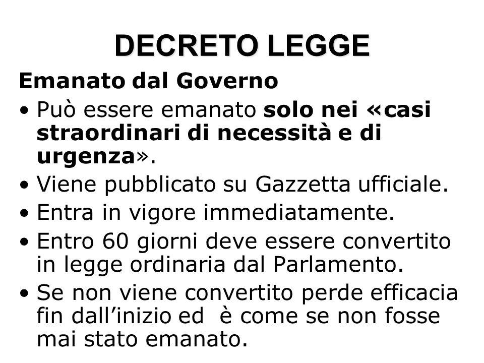 DECRETO LEGGE Emanato dal Governo Può essere emanato solo nei «casi straordinari di necessità e di urgenza». Viene pubblicato su Gazzetta ufficiale. E