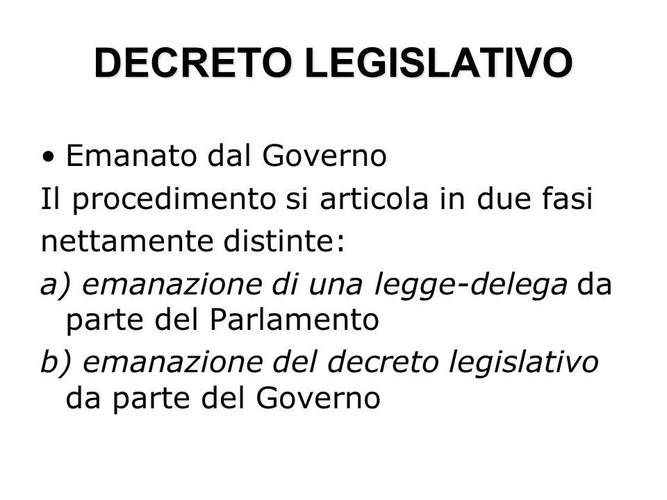DECRETO LEGISLATIVO Emanato dal Governo Il procedimento si articola in due fasi nettamente distinte: a) emanazione di una legge-delega da parte del Pa