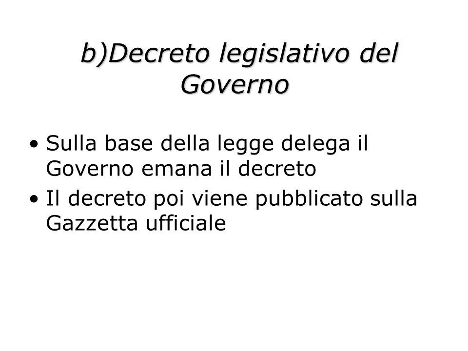 b)Decreto legislativo del Governo b)Decreto legislativo del Governo Sulla base della legge delega il Governo emana il decreto Il decreto poi viene pub