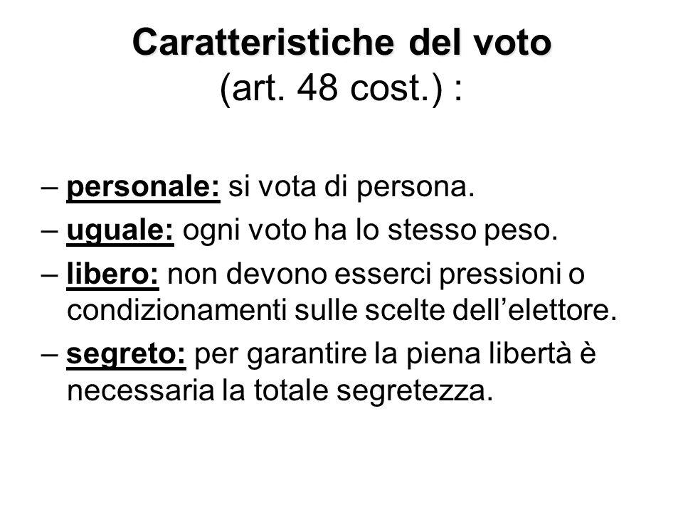 Caratteristiche del voto Caratteristiche del voto (art. 48 cost.) : – personale: si vota di persona. – uguale: ogni voto ha lo stesso peso. – libero: