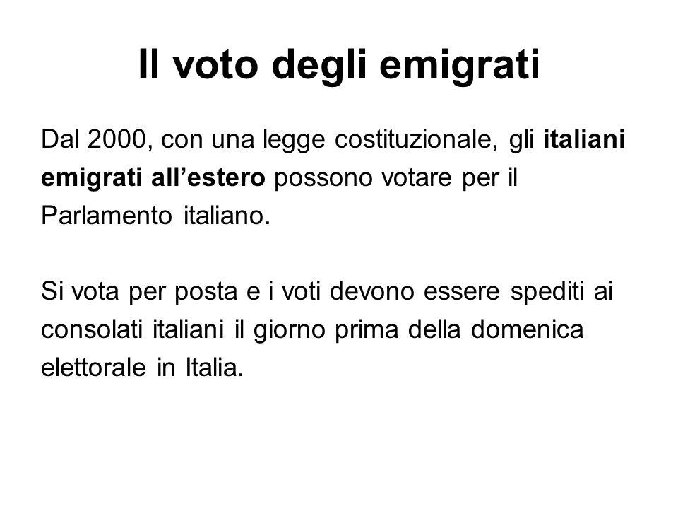 Il voto degli emigrati Dal 2000, con una legge costituzionale, gli italiani emigrati allestero possono votare per il Parlamento italiano. Si vota per