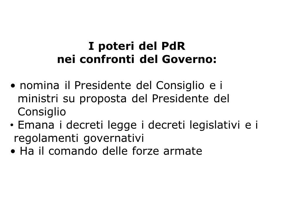 I poteri del PdR nei confronti del Governo: nomina il Presidente del Consiglio e i ministri su proposta del Presidente del Consiglio Emana i decreti l