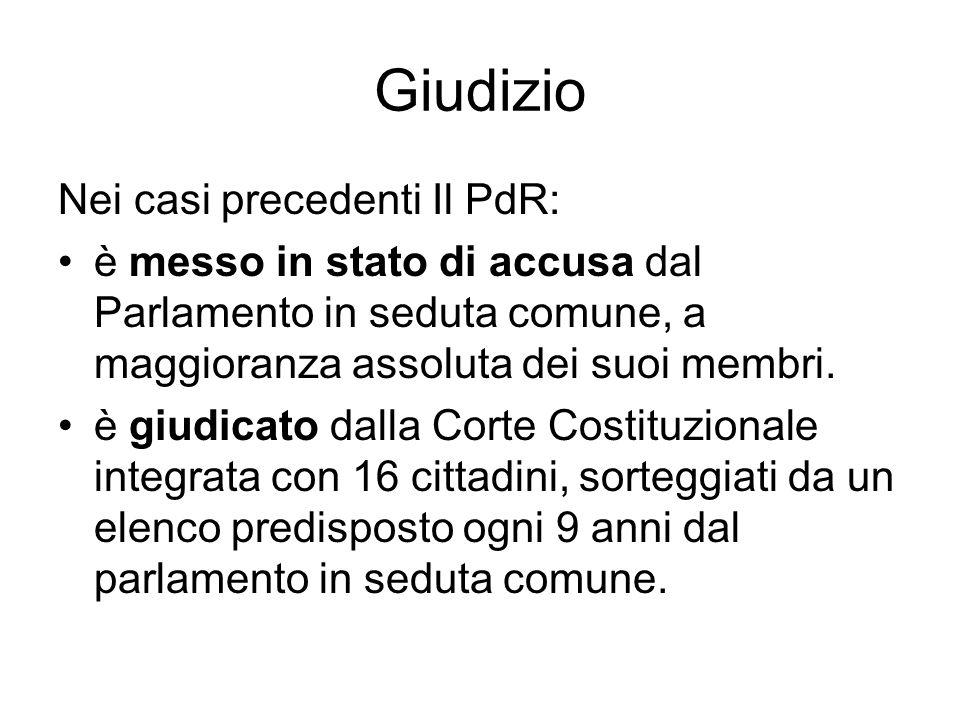 Giudizio Nei casi precedenti Il PdR: è messo in stato di accusa dal Parlamento in seduta comune, a maggioranza assoluta dei suoi membri.
