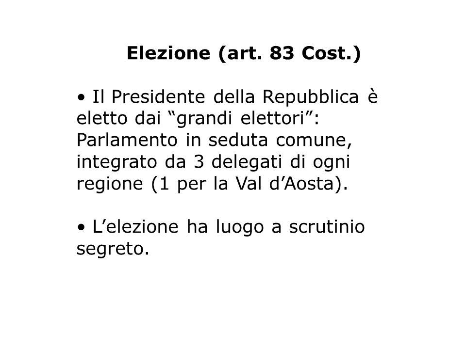 Elezione (art. 83 Cost.) Il Presidente della Repubblica è eletto dai grandi elettori: Parlamento in seduta comune, integrato da 3 delegati di ogni reg