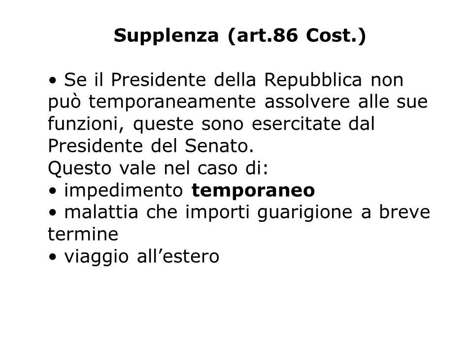 Supplenza (art.86 Cost.) Se il Presidente della Repubblica non può temporaneamente assolvere alle sue funzioni, queste sono esercitate dal Presidente