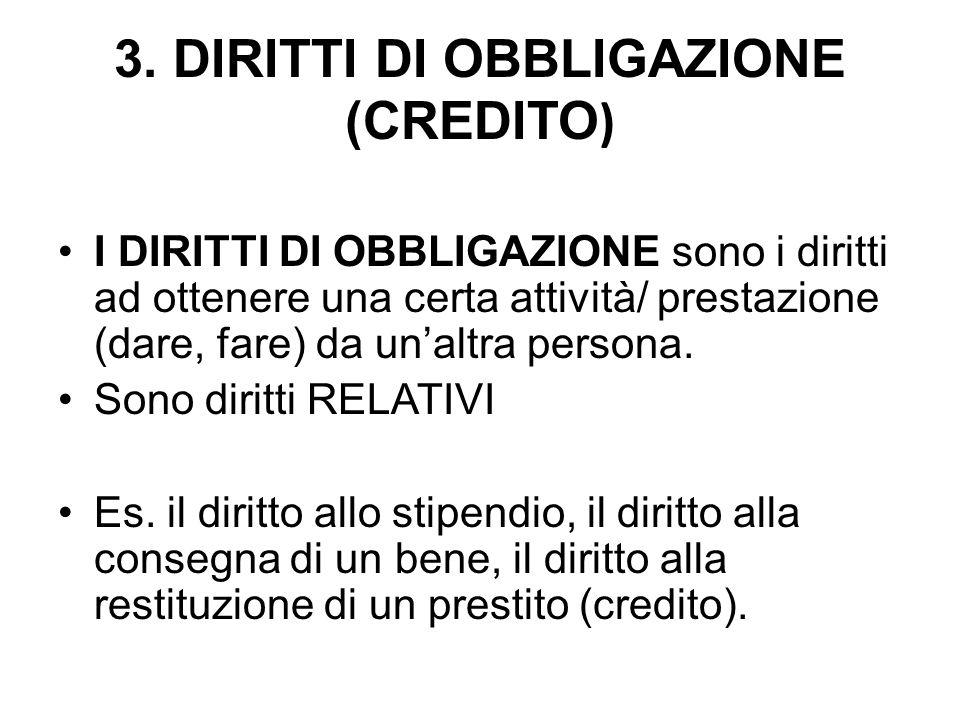 3. DIRITTI DI OBBLIGAZIONE (CREDITO ) I DIRITTI DI OBBLIGAZIONE sono i diritti ad ottenere una certa attività/ prestazione (dare, fare) da unaltra per