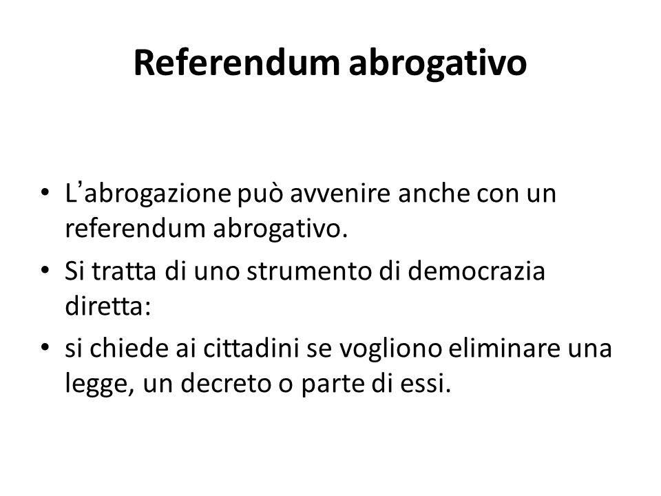 Referendum abrogativo Labrogazione può avvenire anche con un referendum abrogativo. Si tratta di uno strumento di democrazia diretta: si chiede ai cit
