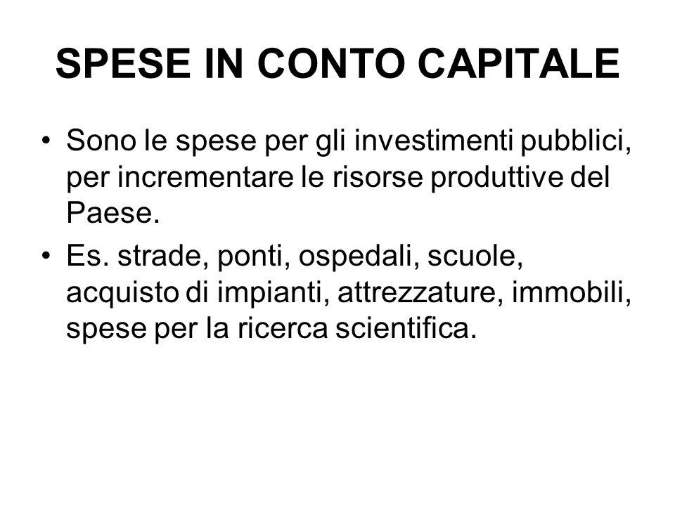 SPESE IN CONTO CAPITALE Sono le spese per gli investimenti pubblici, per incrementare le risorse produttive del Paese. Es. strade, ponti, ospedali, sc