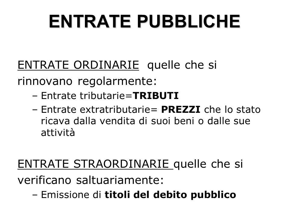 ENTRATE PUBBLICHE ENTRATE ORDINARIE quelle che si rinnovano regolarmente: –Entrate tributarie=TRIBUTI –Entrate extratributarie= PREZZI che lo stato ri