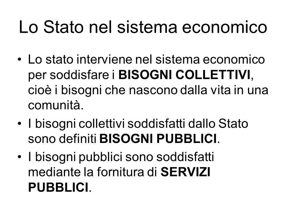 Lo Stato nel sistema economico Lo stato interviene nel sistema economico per soddisfare i BISOGNI COLLETTIVI, cioè i bisogni che nascono dalla vita in