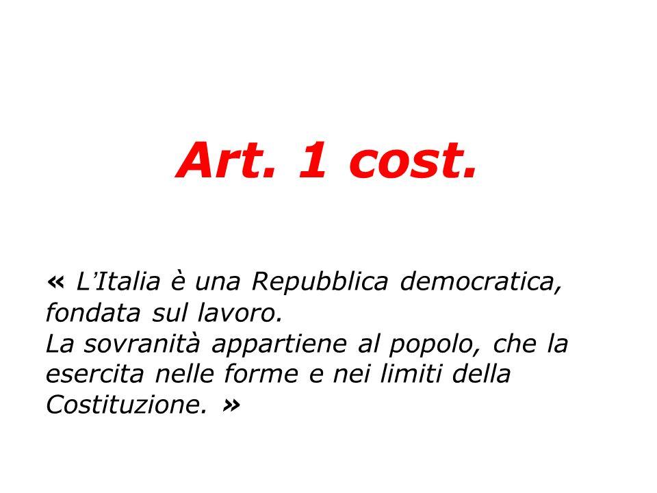 Art. 1 cost. « LItalia è una Repubblica democratica, fondata sul lavoro. La sovranità appartiene al popolo, che la esercita nelle forme e nei limiti d