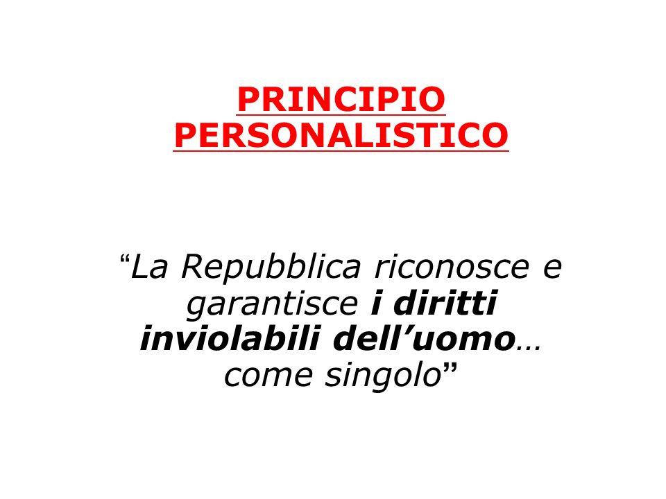PRINCIPIO PERSONALISTICO La Repubblica riconosce e garantisce i diritti inviolabili delluomo… come singolo