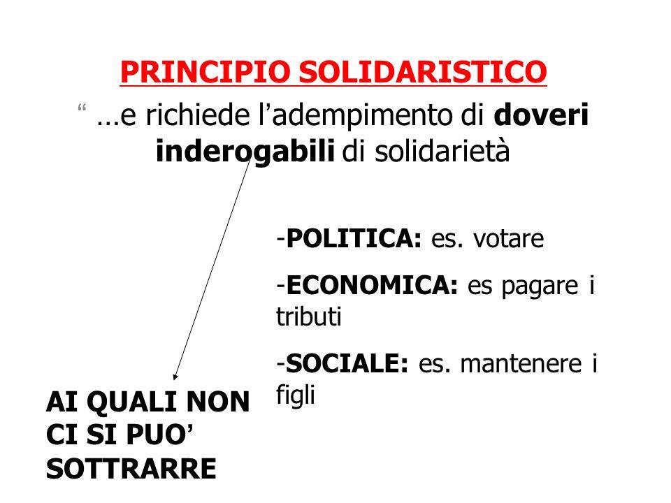 PRINCIPIO SOLIDARISTICO …e richiede ladempimento di doveri inderogabili di solidarietà -POLITICA: es. votare -ECONOMICA: es pagare i tributi -SOCIALE: